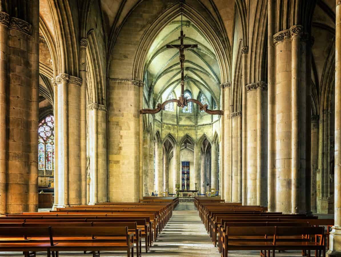 altar, religion, arch, cathedral, bench, church, architecture