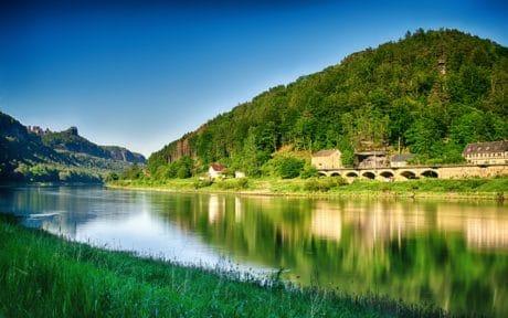 反射, 山, 湖, 自然, 水, 风景, 蓝天