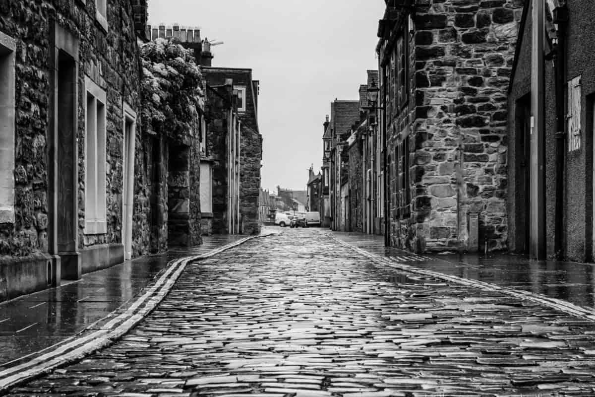 street, monochrome, house, facade, wet, rain