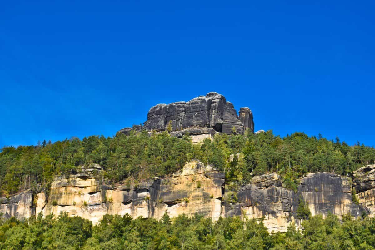 roccia, rupe, foresta, natura, paesaggio, cielo blu, legno