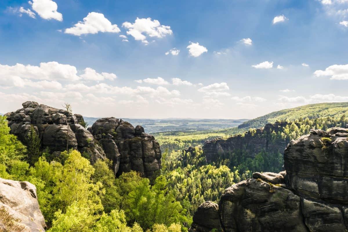 пейзаж, планина, природа, синьо небе, облак, хълм, гора, дърво