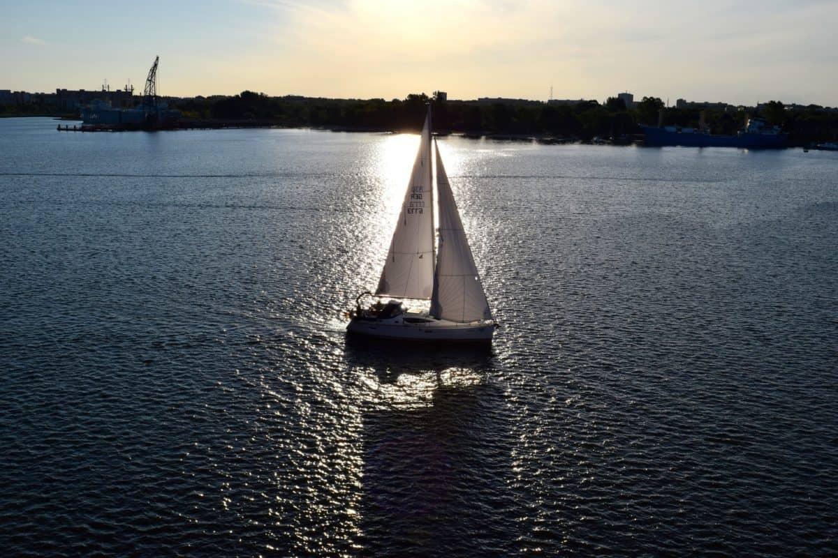 l'embarcation, l'eau, bateau, véhicule, rivière, ciel, navire, crépuscule, coucher de soleil