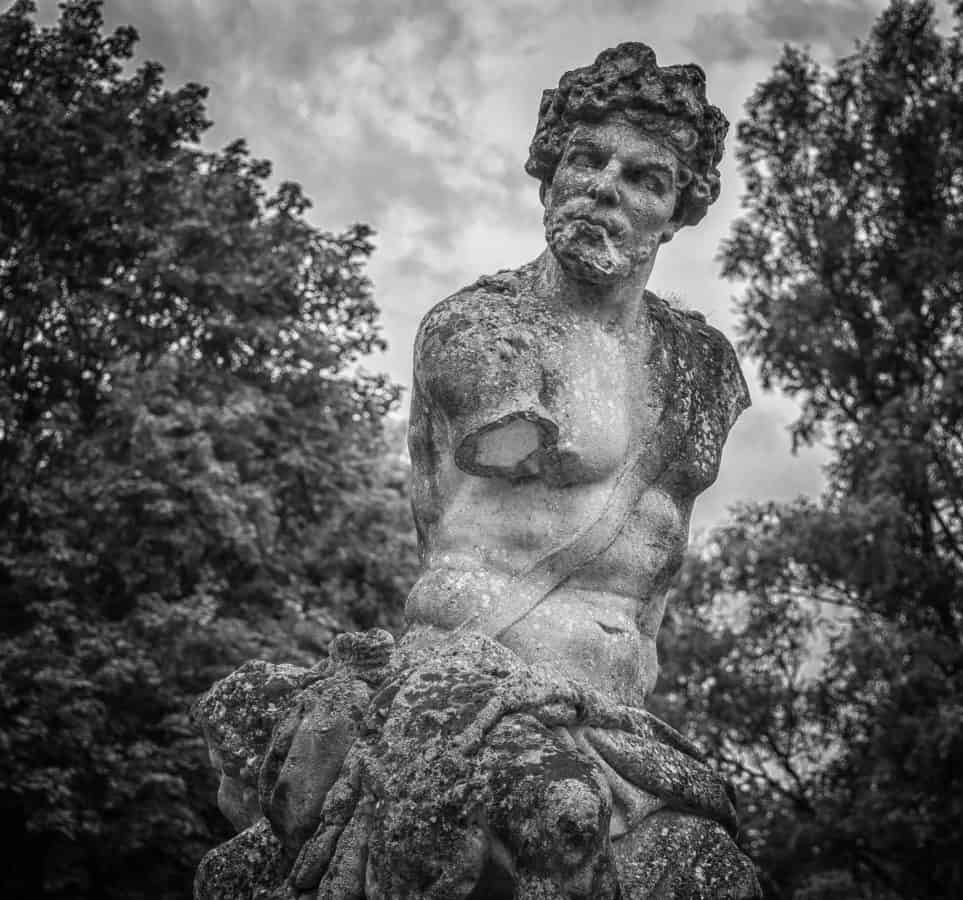 stone, marble, monochrome, sculpture, man, portrait, art, statue, tree, outdoor