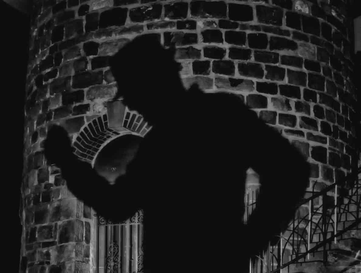 uomo, oscurità monocromatico, ombra, luce, mattoni da muro,