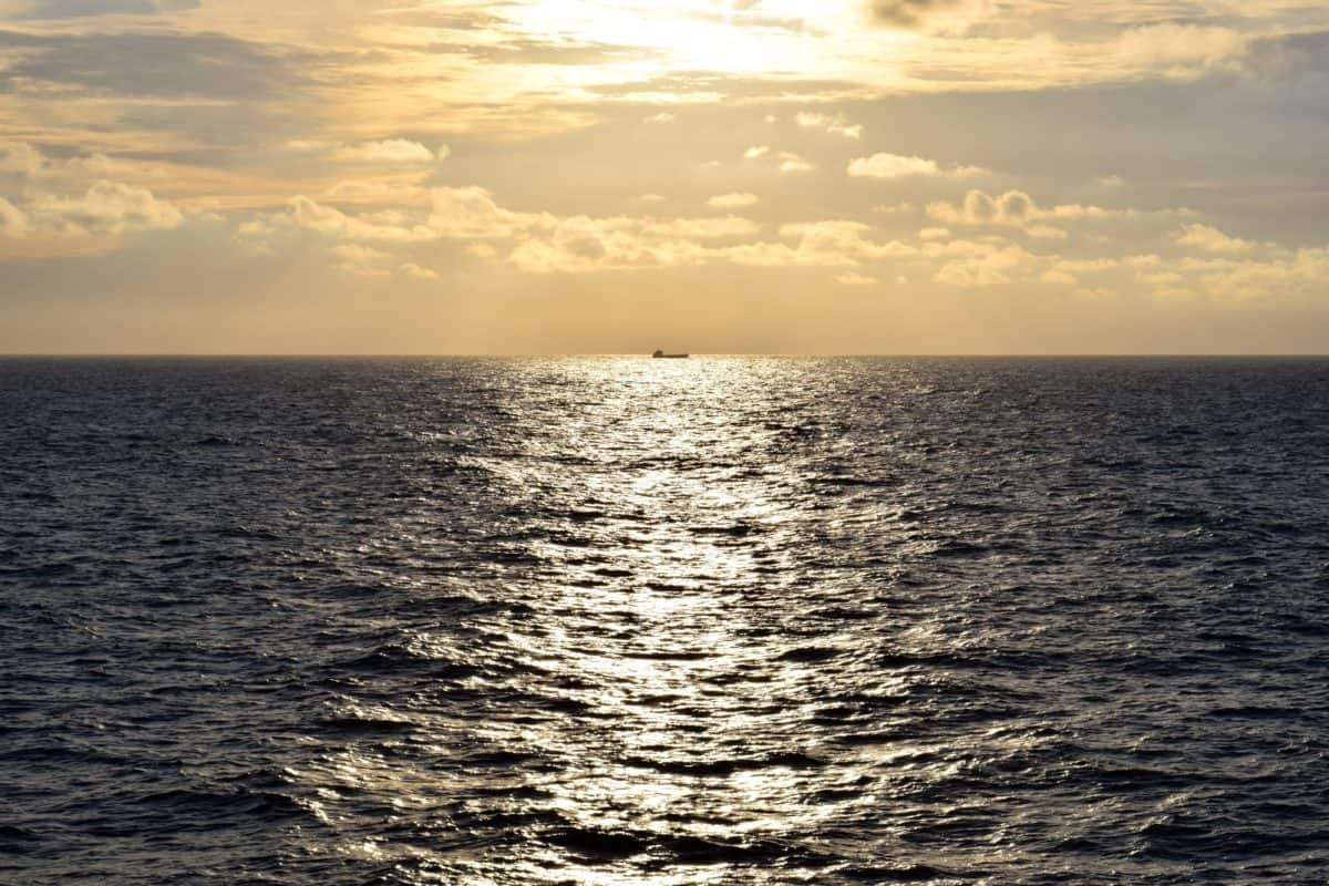 sea, ocean, water, sunset, Sun, ship, dusk, horizon