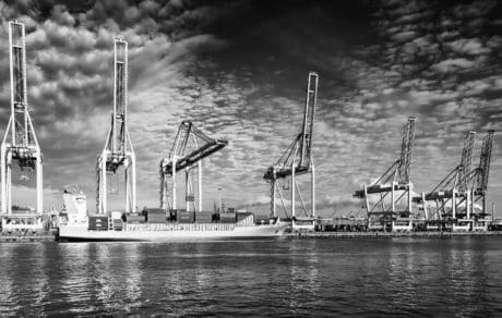 sea, vehicle, monochrome, watercraft, harbor, ship, water, pier, crane