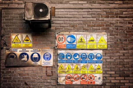 sign, warning, old, urban, air conditioning, street, brick wall
