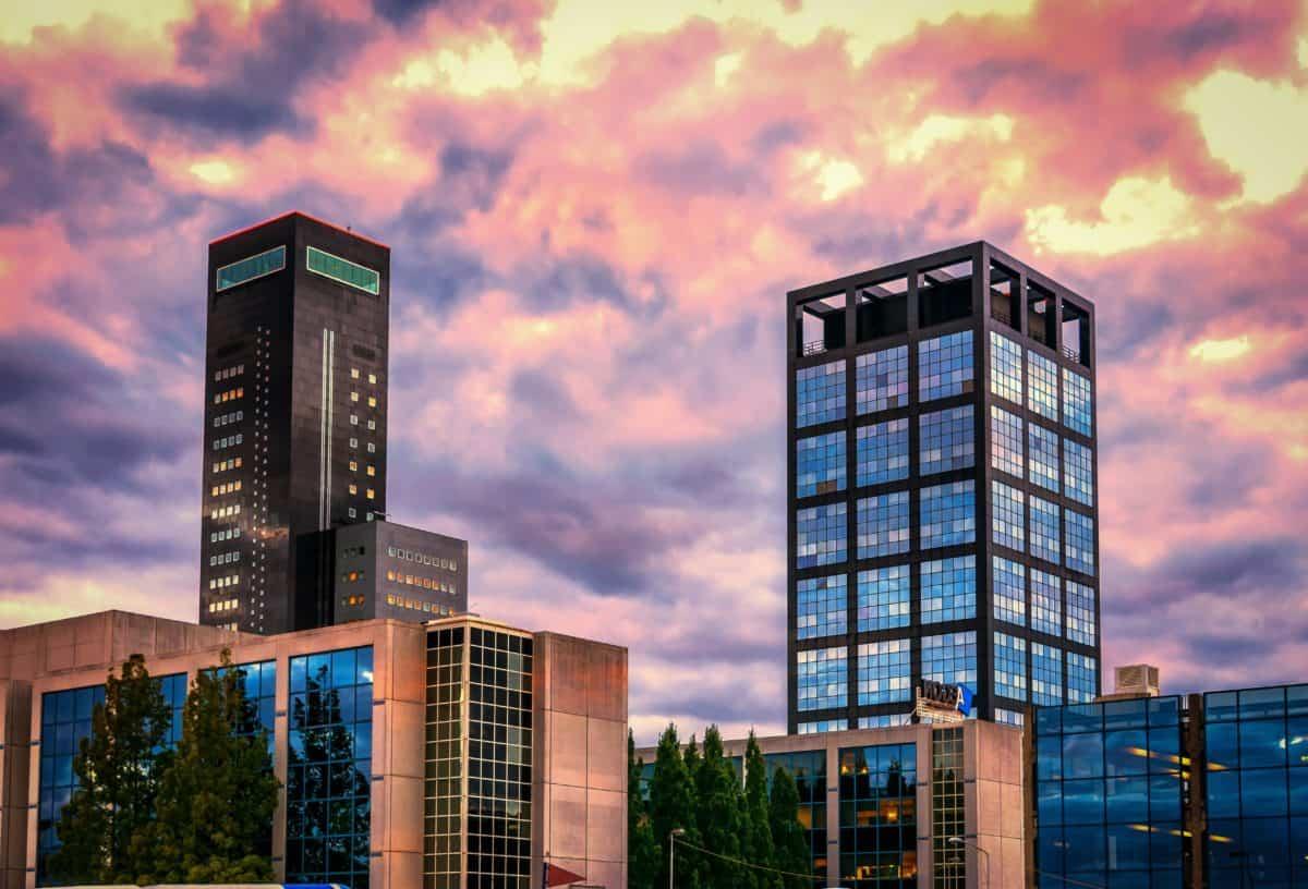 cảnh quan thành phố, downtown, bầu trời, kiến trúc, thành phố, đô thị, hiện đại, xây dựng, sunset