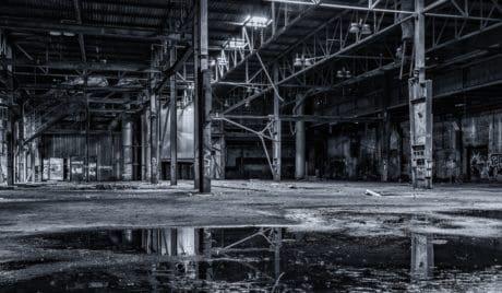 стомана, строителство, склад, вода, отражение, монохромен