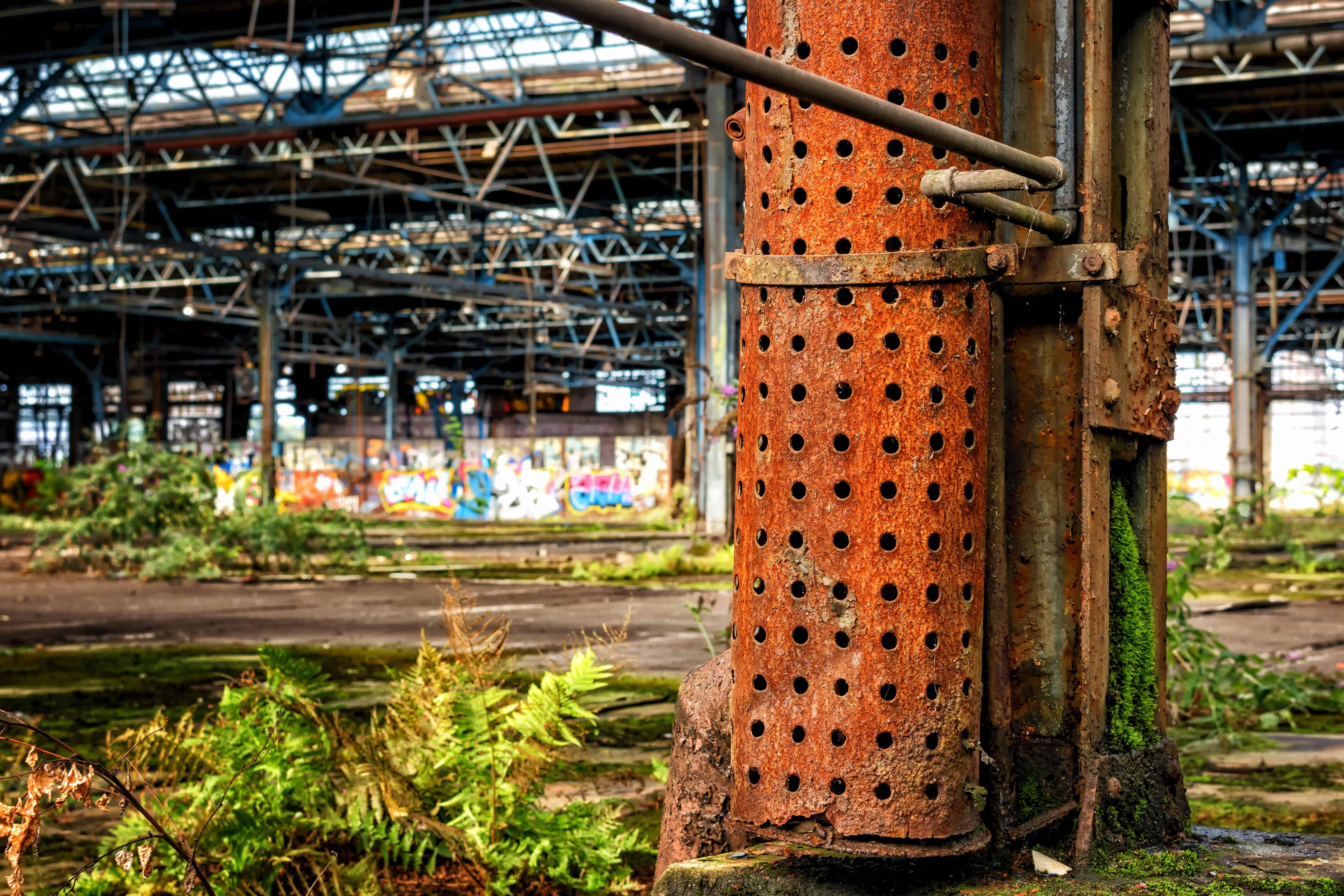 kostenlose bild pflanzen rasen beton industrie alte lager fabrik. Black Bedroom Furniture Sets. Home Design Ideas