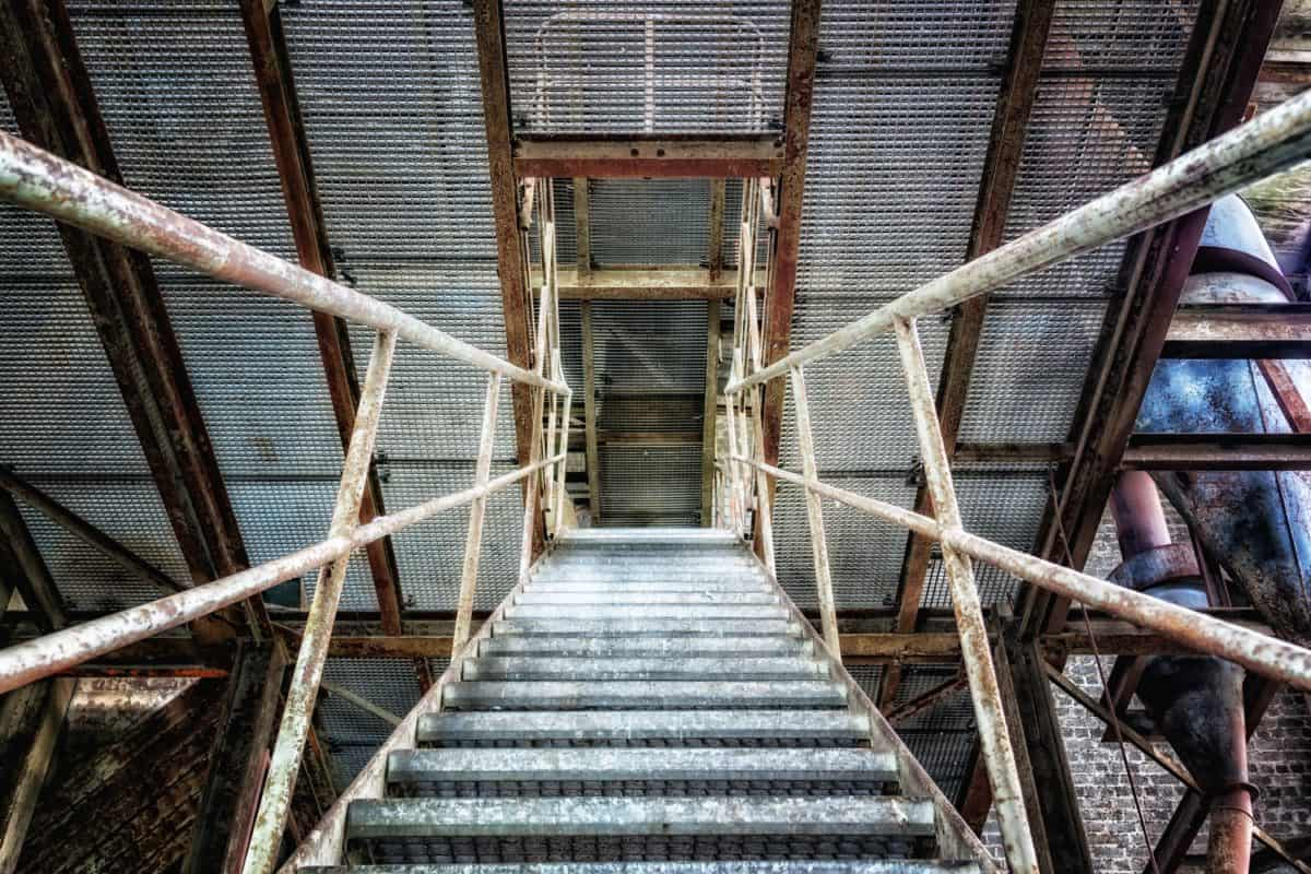staircase, fence, grid, industry, metal, steel, construction