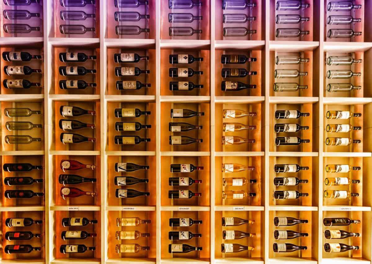 botella, objecty, estante, muebles de diseño, colorido,