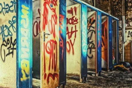 graffiti, outdoor, old, toilet, urban, cabin, colorful