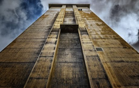 building, architecture, sky, concrete, tower, facade, exterior