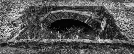 tunnel, monochrome, brique, ancien, bunker, abri