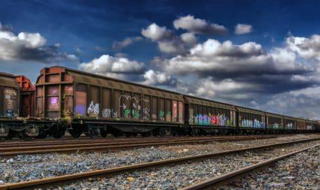 locomotora, ferrocarril, tren, motor, vehículo, ferrocarril, cielo azul