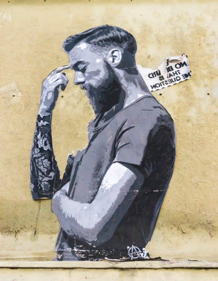 painting, monochrome, man, tattoo, beard, poster