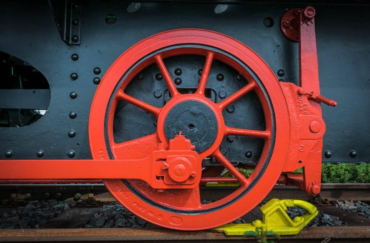 train, engine, locomotive, vehicle, railway, wheel, red