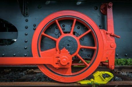 tren motor, locomotora, vehículo, tren, rueda, rojo