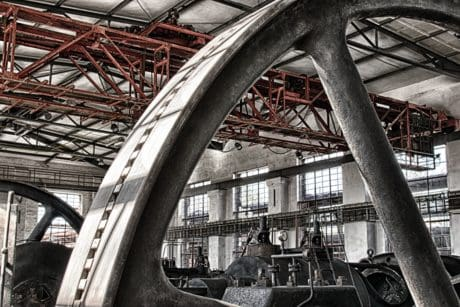 metal, steel, wheel, industry, construction, hall, factory