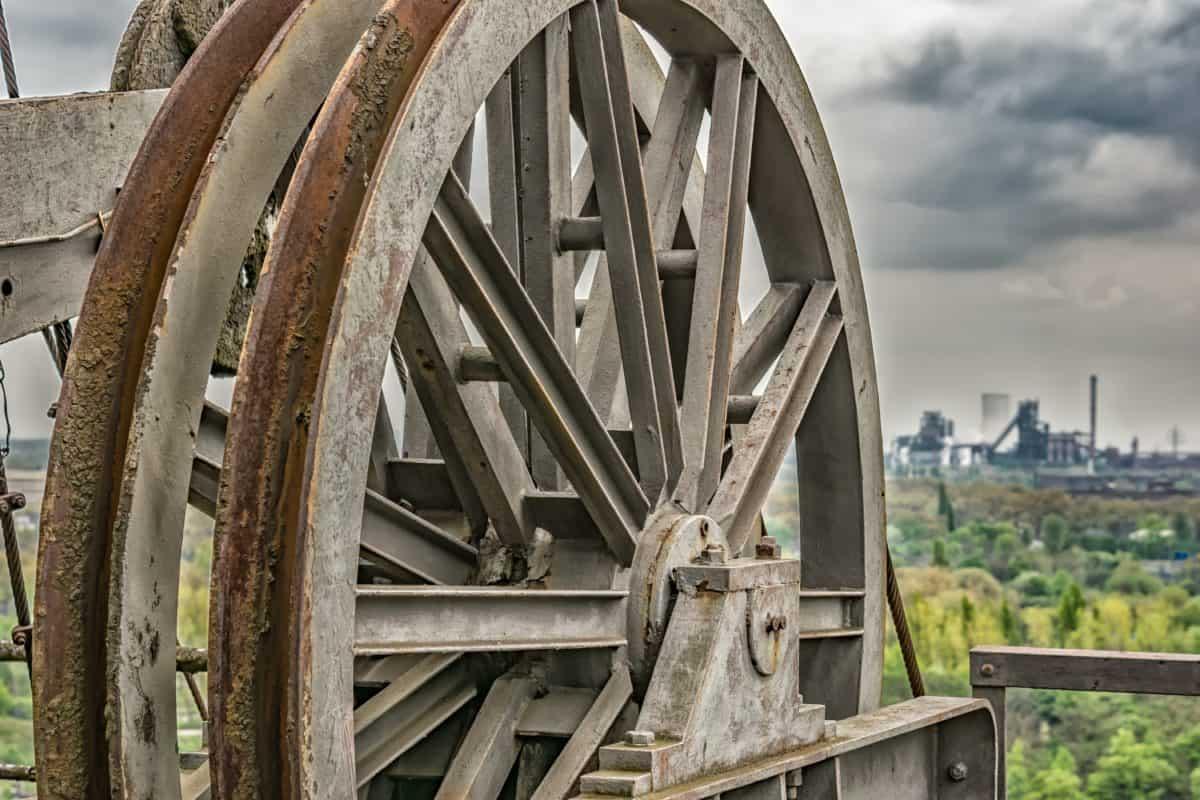 vecchio, ferro, ruota, metallo, meccanismo, cielo, paesaggio, industria, ruggine, oggetto
