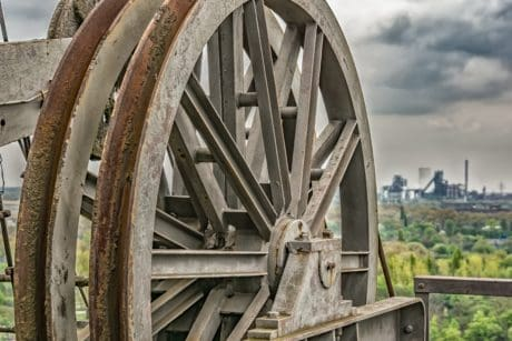 old, iron, wheel, metal, mechanism, sky, landscape, industry, rust, object