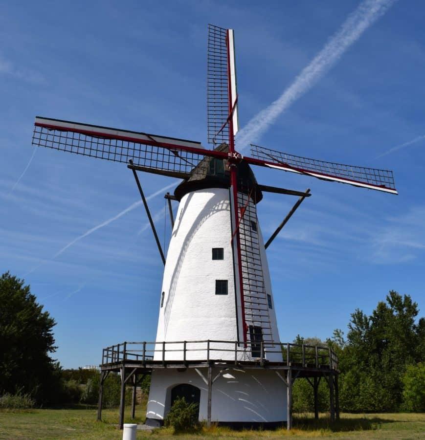 blu cielo, vento, campagna, rotazione, energia, mulino a vento, facciata