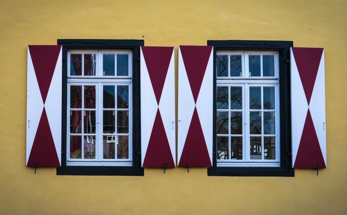 finestra, parete, vetro, casa, architettura, facciata