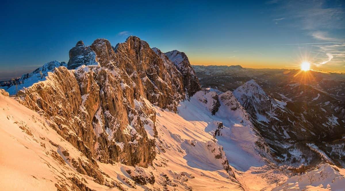 snow, mountain, canyon, landscape, desert, sky, valley, cliff