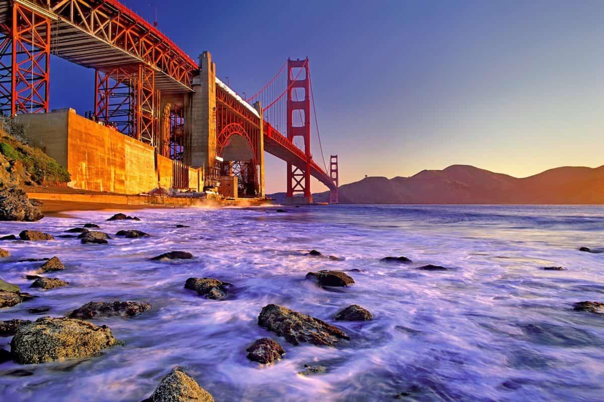 sea, sunset, bridge, sky, beach, water, ocean, bay, city