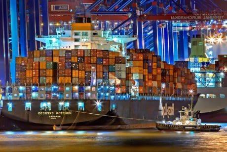 buque de carga, ciudad, arquitectura, noche, urbano, puerto, paisaje urbano