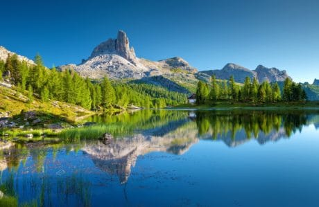 nature, landscape, lake, wood, mountain, water, reflection