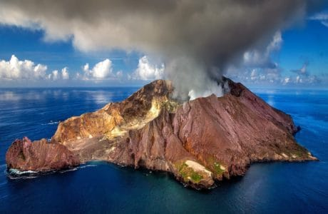 eruption, smoke, volcano, sea, ocean, coast, landscape, sky, island