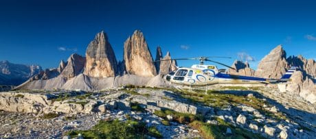 sky, landscape, helicopter, vehicle, aircraft, mountain, outdoor
