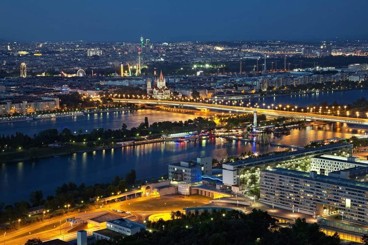 eau, crépuscule, paysage urbain, ville, architecture, centre urbain, de nuit,