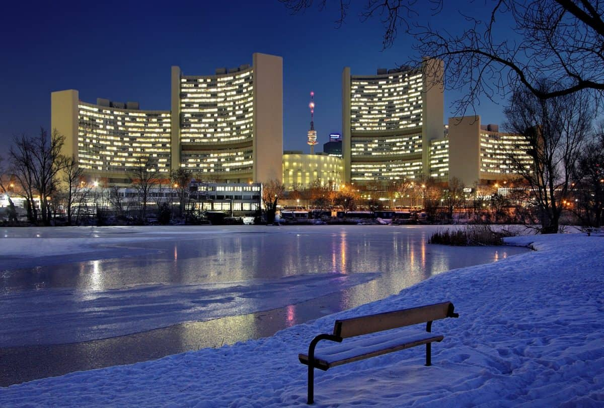 modern, city, reflection, architecture, downtown, winter, lake