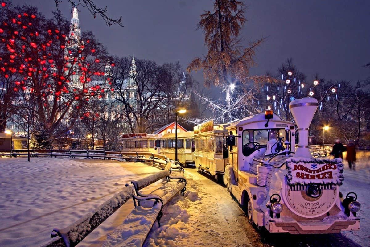città, inverno, albero, all'aperto, treno, strada, notte, neve
