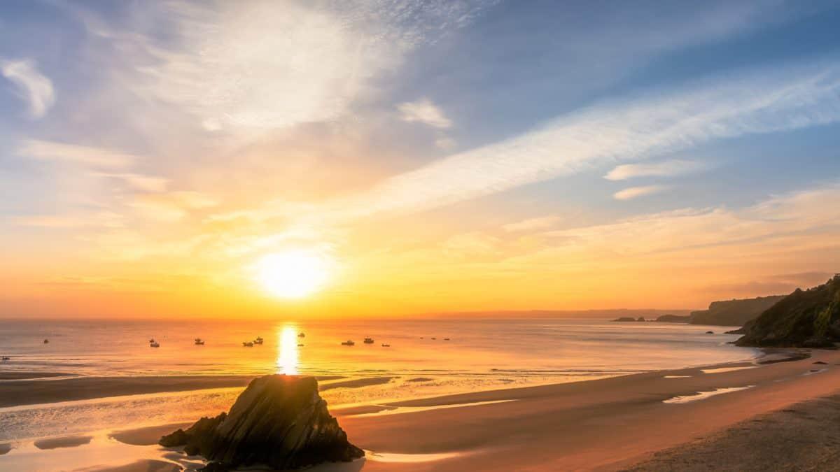 море, слънце, вода, здрач, бряг, залез, океан, пясък, изгрев