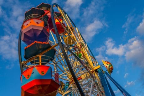 blue sky, exhilaration, carnival, entertainment, circus, wheel, construction