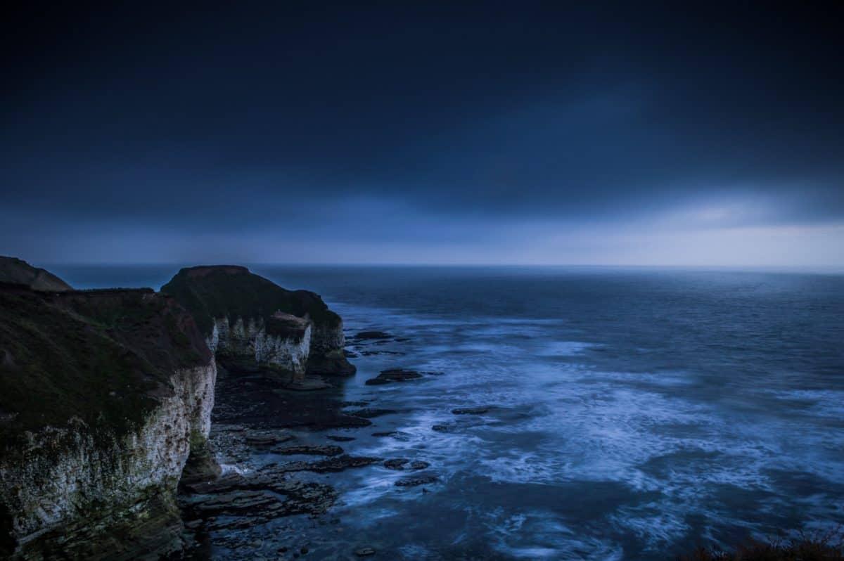 océan, crépuscule, coucher de soleil, obscurité, nuit, plage, eau, mer, aube, paysage marin, Côte