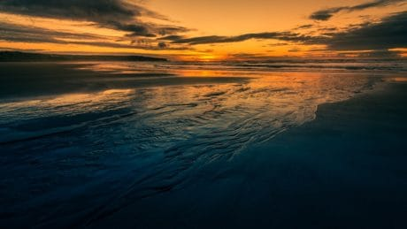 sea, beach, dawn, dusk, ocean, sunset, water, sun, sky, landscape