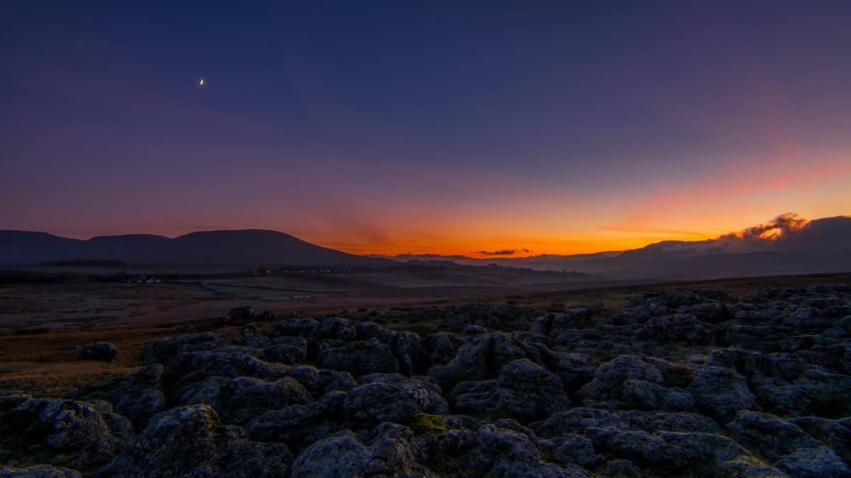 sunset, night, beach, landscape, dusk, sea, dawn, sky, mountain