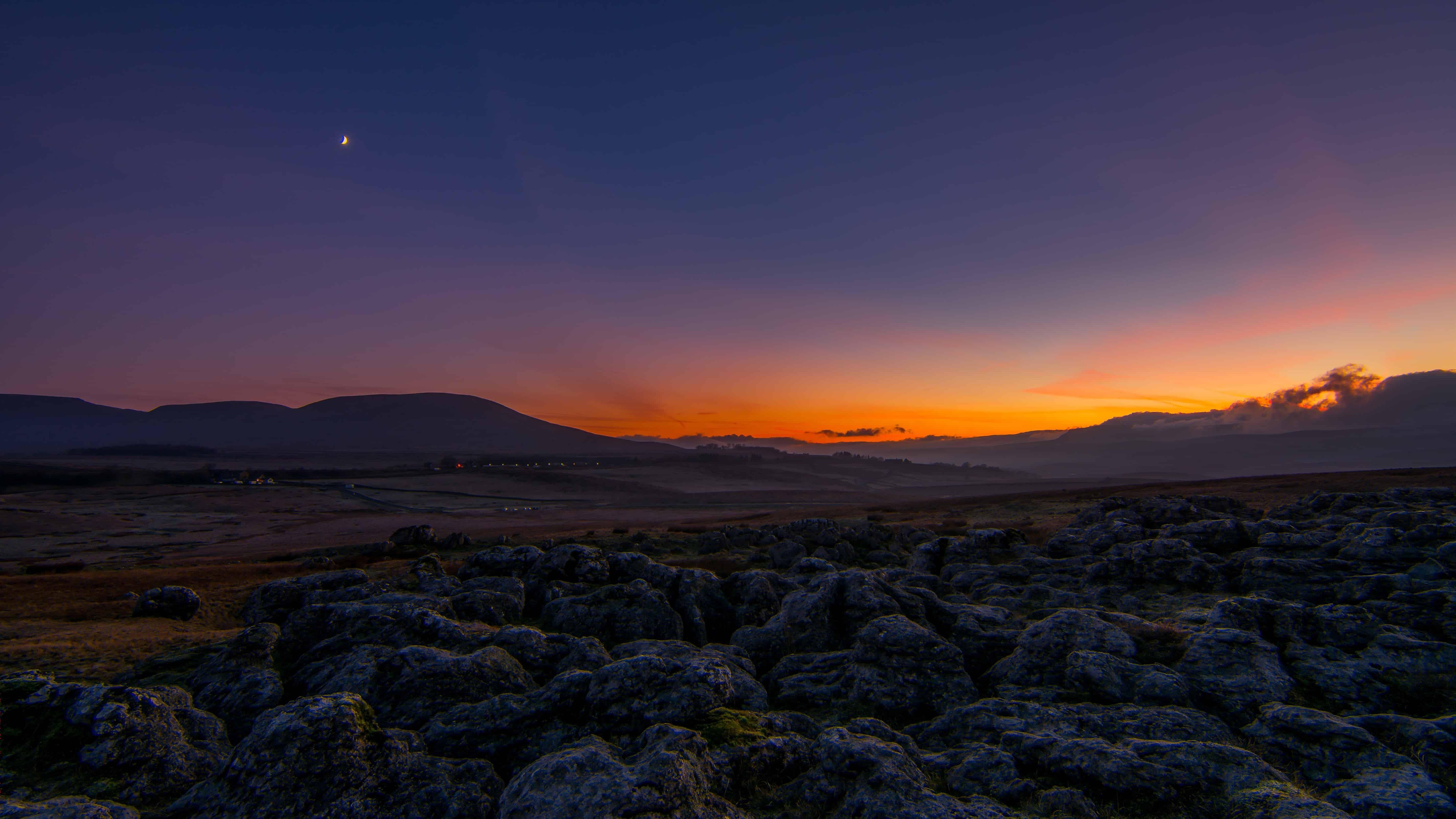 Sunset Night Beach Landscape Dusk Sea Dawn Sky Mountain