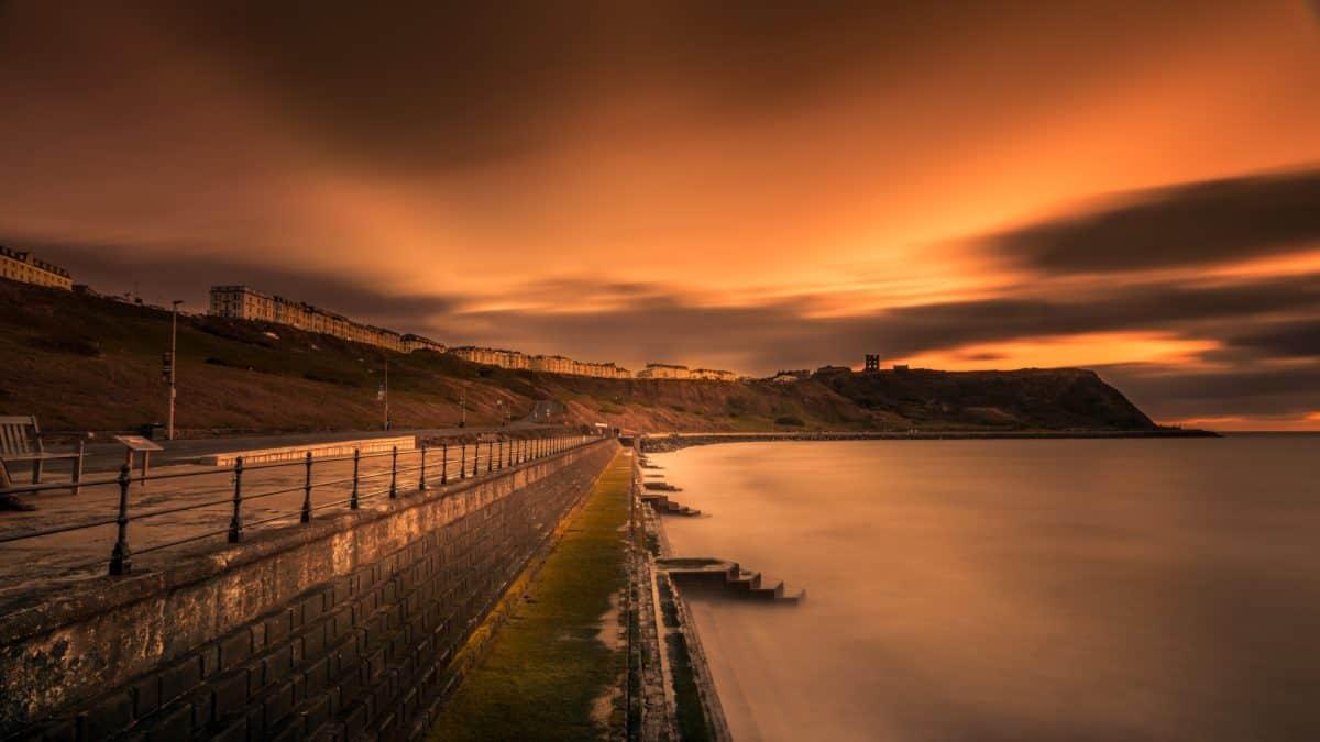 川、夕日、水、ビーチ、橋、桟橋、構造