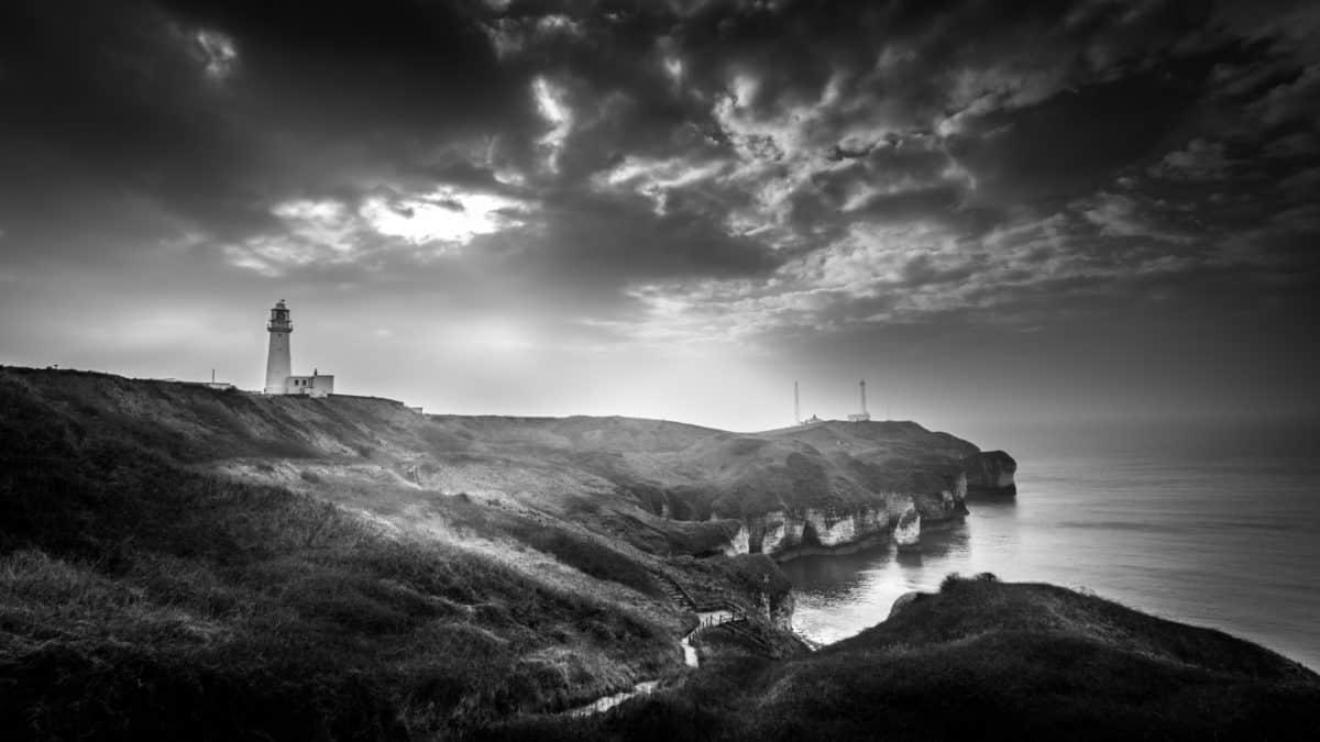 sea, monochrome, sunset, beach, lighthouse, landscape, water, sky