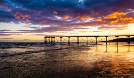 coucher de soleil, plage, paysage marin, océan, soleil, jetée, eau, mer