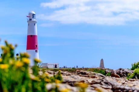 cielo, naturaleza, faro, estructura, torre, cielo azul, mar, Costa
