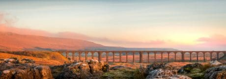 landscape, water, sky, dawn, bridge, structure, viaduct