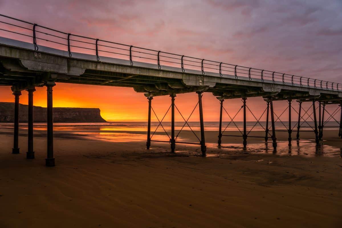 Playa, agua, cielo, puesta de sol, mar, puente, muelle