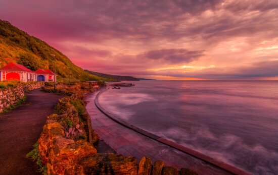 sunset, sky, water, dusk, ocean, landscape, cloud, wave